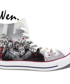 Wen Grey Hand Painted Shoes Design Custom Walking Dead Boys Girls Gifts High Top Men Women 1