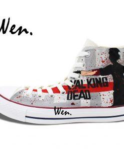 Wen Grey Hand Painted Shoes Design Custom Walking Dead Boys Girls Gifts High Top Men Women 2