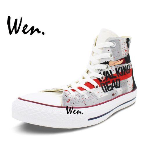 Wen Grey Hand Painted Shoes Design Custom Walking Dead Boys Girls Gifts High Top Men Women 3