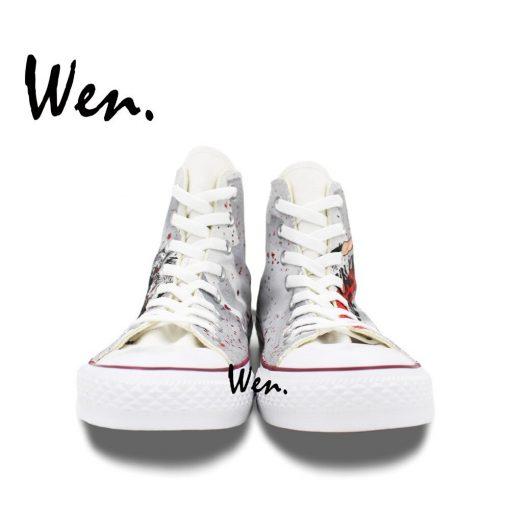 Wen Grey Hand Painted Shoes Design Custom Walking Dead Boys Girls Gifts High Top Men Women 4