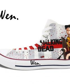 Wen Hand Painted Shoes Design Custom Walking Dead Grey Man Woman s High Top Canvas Sneakers 1