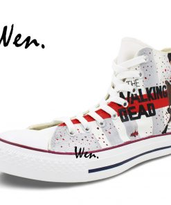 Wen Hand Painted Shoes Design Custom Walking Dead Grey Man Woman s High Top Canvas Sneakers 2