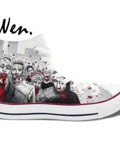 Wen Hand Painted Shoes Design Custom Walking Dead Grey Man Woman s High Top Canvas Sneakers