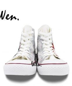 Wen Hand Painted Shoes Design Custom Walking Dead Grey Man Woman s High Top Canvas Sneakers 3
