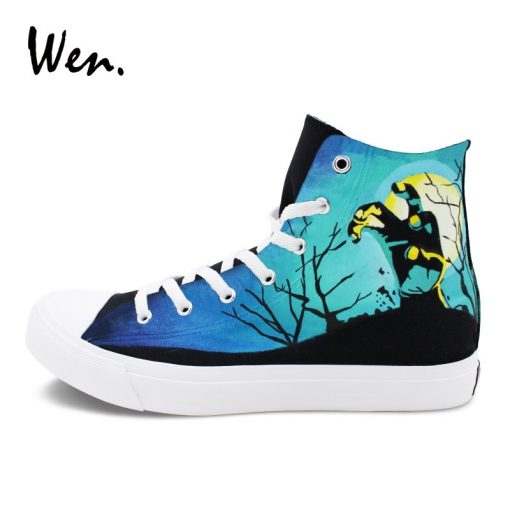 Wen Sneakers Shoes for Men Women Hand Painted Design Walking Dead High Top Black Canvas Shoes 1