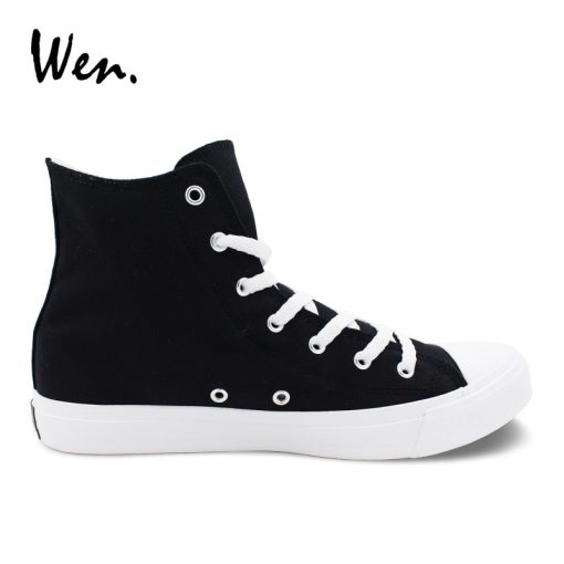Wen Sneakers Shoes for Men Women Hand Painted Design Walking Dead High Top Black Canvas Shoes 2