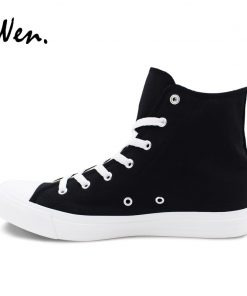 Wen Sneakers Shoes for Men Women Hand Painted Design Walking Dead High Top Black Canvas Shoes 3