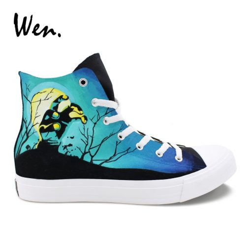 Wen Sneakers Shoes for Men Women Hand Painted Design Walking Dead High Top Black Canvas Shoes