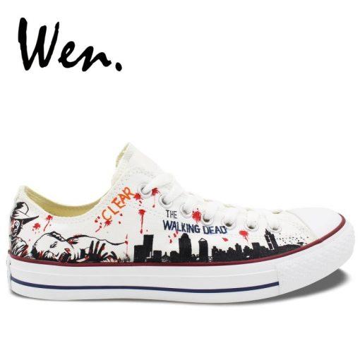 Wen White Hand Painted Shoes Design Custom Walking Dead Graffiti Painting Plimsolls Low Top Men Women 1