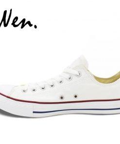 Wen White Hand Painted Shoes Design Custom Walking Dead Graffiti Painting Plimsolls Low Top Men Women 3