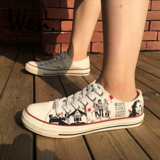 Wen White Hand Painted Shoes Design Custom Walking Dead Graffiti Painting Plimsolls Low Top Men Women