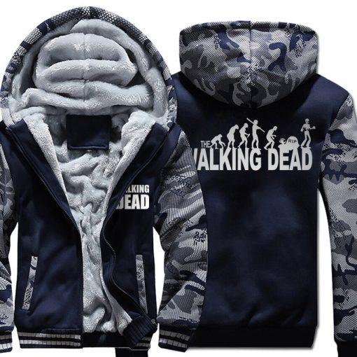 Winter Hoodies For Men 2018 New Arrival Camouflage Sweatshirt Thick Fleece Hoody WALKING DEAD Punk Streetwear 1