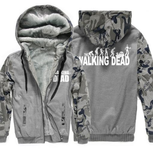 Winter Hoodies For Men 2018 New Arrival Camouflage Sweatshirt Thick Fleece Hoody WALKING DEAD Punk Streetwear