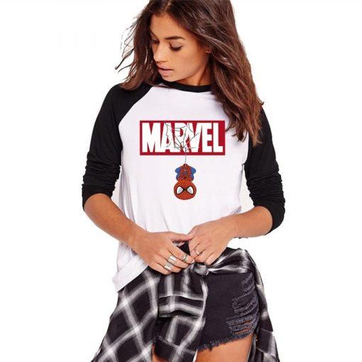 Women Tshirt Autumn Long Sleeve Cartoon Marvey Spiderman Print T shirt Female Tumblr Plus Size Ladies