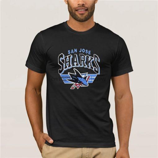 fashion brand t shirt san jose shark t shirt for loose hip hop tees black male