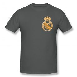 football team T Shirts Tops Humorous Cotton Golden Real Madrided Crest T Shirts Round Collar Clothing 1