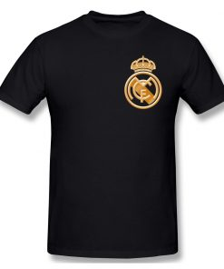 football team T Shirts Tops Humorous Cotton Golden Real Madrided Crest T Shirts Round Collar Clothing