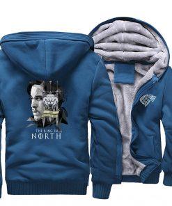 game of thrones print hooded hoodie Men raglan fashion king in the north pattern fleece thicken 1