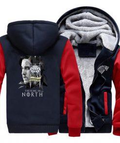 game of thrones print hooded hoodie Men raglan fashion king in the north pattern fleece thicken 2