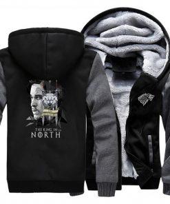 game of thrones print hooded hoodie Men raglan fashion king in the north pattern fleece thicken