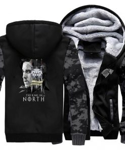 game of thrones print hooded hoodie Men raglan fashion king in the north pattern fleece thicken 3