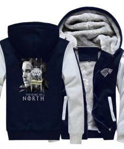 game of thrones print hooded hoodie Men raglan fashion king in the north pattern fleece thicken 4