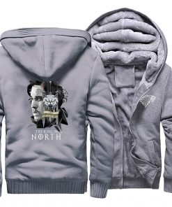 game of thrones print hooded hoodie Men raglan fashion king in the north pattern fleece thicken 5
