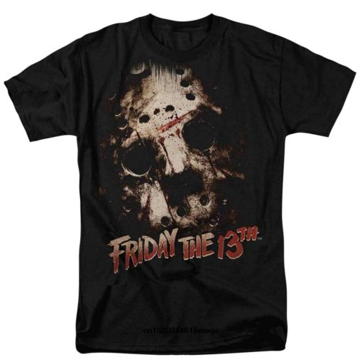t shirt Friday The 13th Mens Black Jason Mask Graphic Horror Movie T Shirt