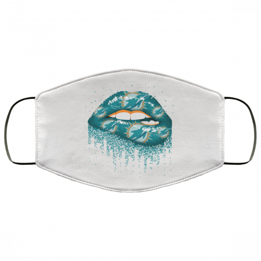Biting Glossy Lips Sexy Miami Dolphins NFL Football Face Mask