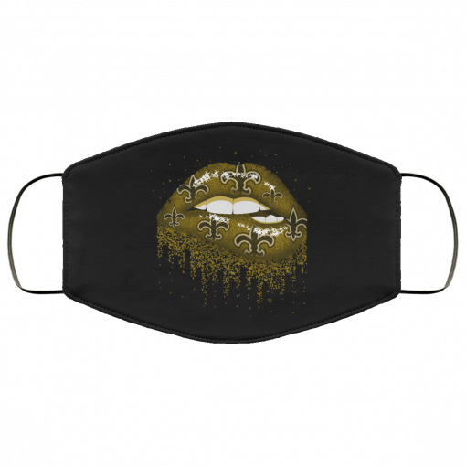 Biting Glossy Lips Sexy New Orleans Saints NFL Football Face Mask