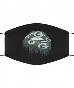 Biting Glossy Lips Sexy Green Bay Packers NFL Football Face Mask