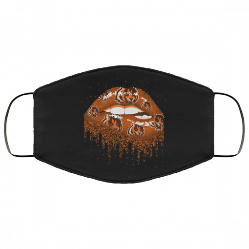 Biting Glossy Lips Sexy Cincinnati Bengals NFL Football Face Mask