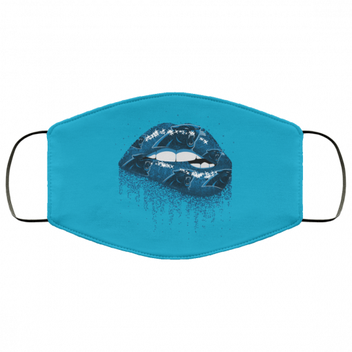 Biting Glossy Lips Sexy Carolina Panthers NFL Football Face Mask