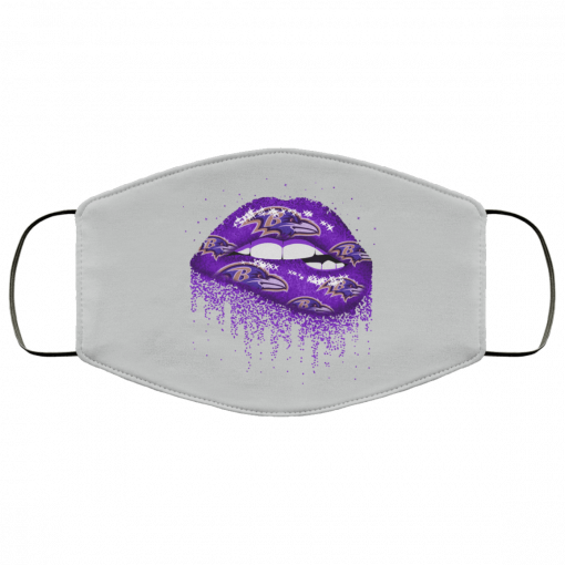 Biting Glossy Lips Sexy Baltimore Ravens NFL Football Face Mask
