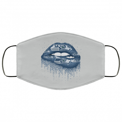 Biting Glossy Lips Sexy Seattle Seahawks NFL Football Face Mask