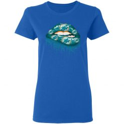 Biting Glossy Lips Sexy Miami Dolphins NFL Football Women T-Shirt