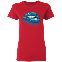 Biting Glossy Lips Sexy Los Angeles Chargers NFL Football Women T-Shirt