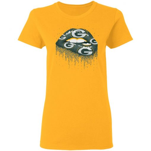 Biting Glossy Lips Sexy Green Bay Packers NFL Football Women T-Shirt