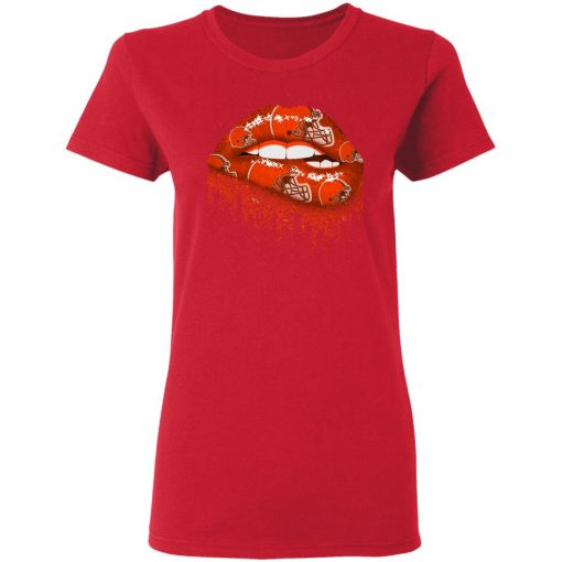 Biting Glossy Lips Sexy Cleveland Browns NFL Football Women T-Shirt
