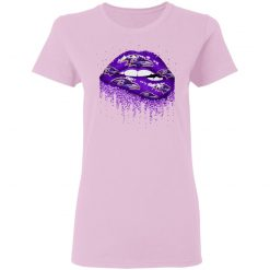 Biting Glossy Lips Sexy Baltimore Ravens NFL Football Women T-Shirt