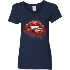 Biting Glossy Lips Sexy San Francisco 49ers NFL Football Women V-Neck T-Shirt