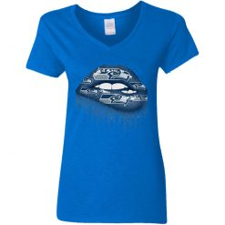 Biting Glossy Lips Sexy Seattle Seahawks NFL Football Women V-Neck T-Shirt