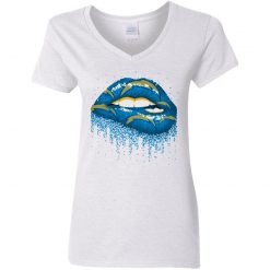 Biting Glossy Lips Sexy Los Angeles Chargers NFL Football Women V-Neck T-Shirt