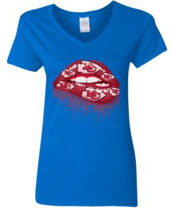 Biting Glossy Lips Sexy Kansas City Chiefs NFL Football Women V-Neck T-Shirt