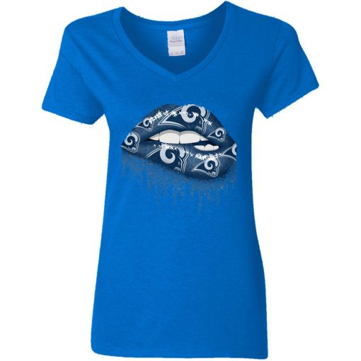 Biting Glossy Lips Sexy Los Angeles Rams NFL Football Women V-Neck T-Shirt