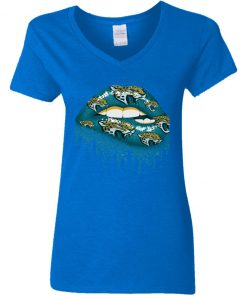 Biting Glossy Lips Sexy Jacksonville Jaguars NFL Football Women V-Neck T-Shirt