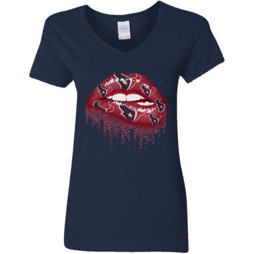 Biting Glossy Lips Sexy Houston Texans NFL Football Women V-Neck T-Shirt