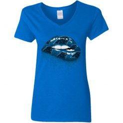 Biting Glossy Lips Sexy Carolina Panthers NFL Football Women V-Neck T-Shirt