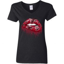 Biting Glossy Lips Sexy Atlanta Falcons NFL Football Women V-Neck T-Shirt