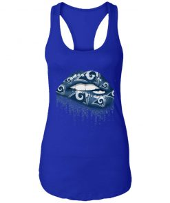 Biting Glossy Lips Sexy Los Angeles Rams NFL Football Women Racerback Tank